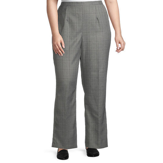Alfred Dunner-Plus Short Madison Avenue Womens Straight Flat Front Pant