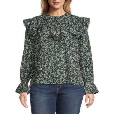 a.n.a-Plus Womens High Neck Long Sleeve Blouse