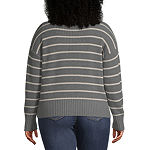 a.n.a-Plus Womens Crew Neck Long Sleeve Striped Pullover Sweater