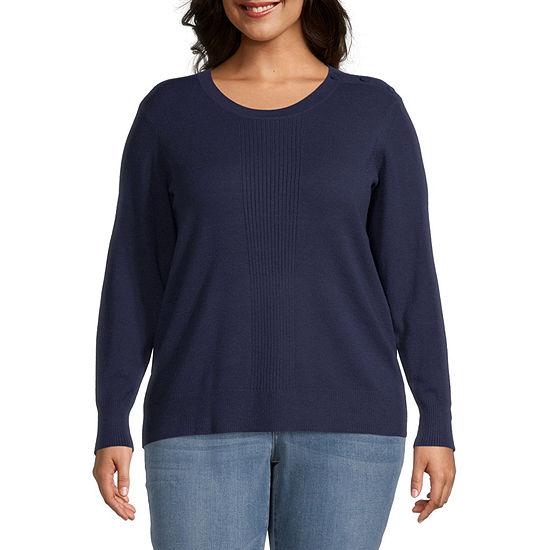 Liz Claiborne Solid Pullover Sweater - Plus