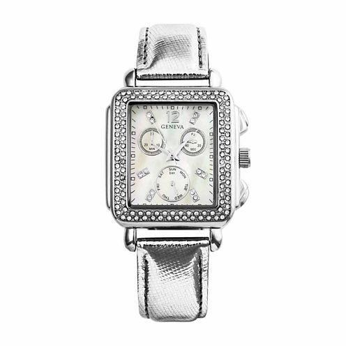 Geneva Womens Silver Tone Strap Watch-Pt1820slsl