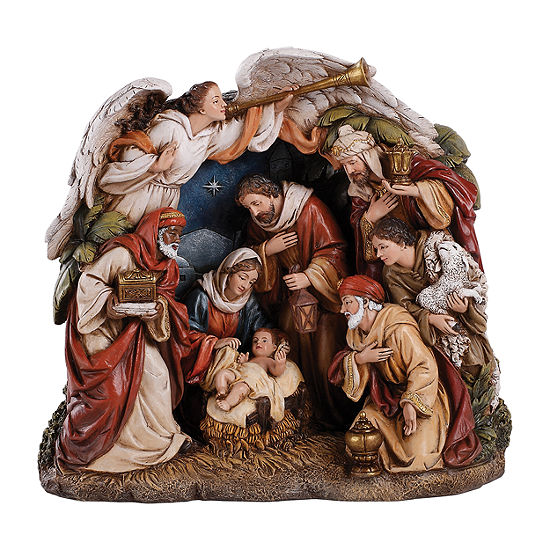 Roman 9 Angel Arching Over Nativity Figurine