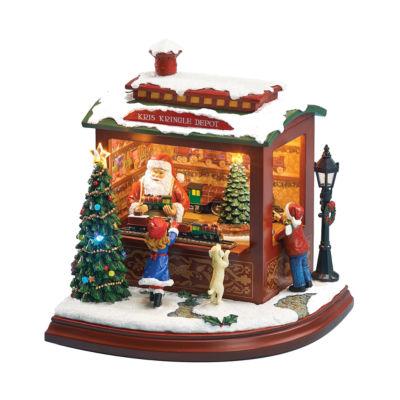 Roman Musical LED Santa's Trainshop Figurine