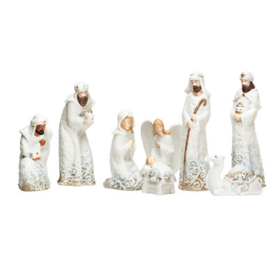 "Roman 8.25"" Lace Trim Nativity 8 Piece Set"