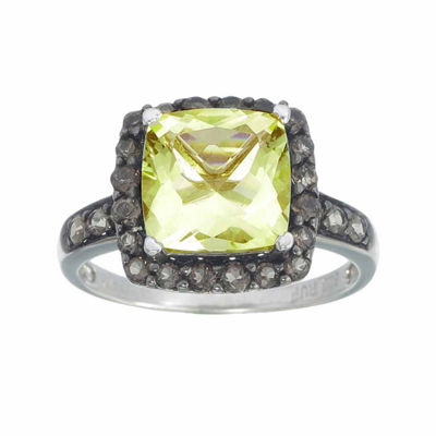 Womens Yellow Quartz Sterling Silver Halo Ring