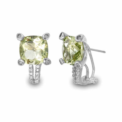 Princess Yellow Quartz Sterling Silver Stud Earrings