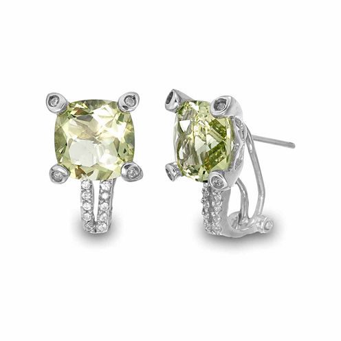 Princess Yellow Quartz Sterling Silver Stud Earrings