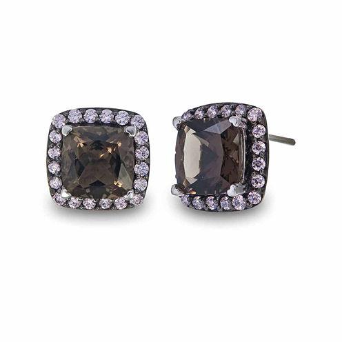 Princess Brown Quartz Sterling Silver Stud Earrings