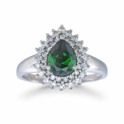 Womens Simulated Emerald Sterling Silver Halo Ring