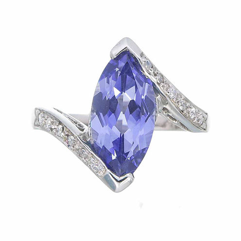 Womens Simulated Blue Sapphire Sterling Silver Bypass Ring