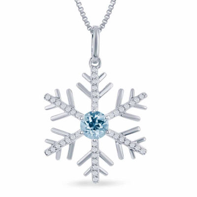"Enchanted Disney Fine Jewelry Genuine Blue Topaz & 1/6 C.T. T.W. Diamond ""Frozen"" Snowflake Pendant Necklace In Sterling Silver"