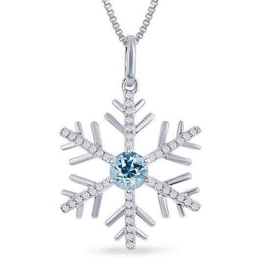 "Enchanted Disney Fine Jewelry Genuine Blue Topaz & 1/6 C.T. T.W. Diamond ""Frozen"" Snowflake Pendant Necklace In Sterling Silver"