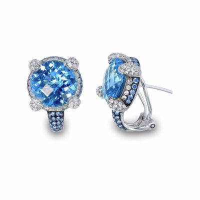 Blue Blue Topaz Sterling Silver 13mm Stud Earrings