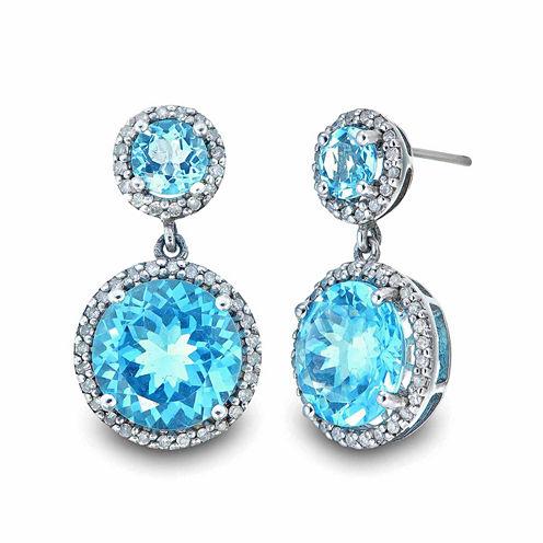 1/3 CT. T.W. Blue Topaz Sterling Silver Drop Earrings