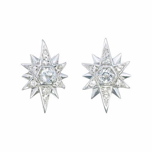 Round White Topaz Sterling Silver Stud Earrings