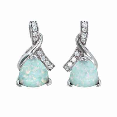 Simulated White Opal Sterling Silver Stud Earrings