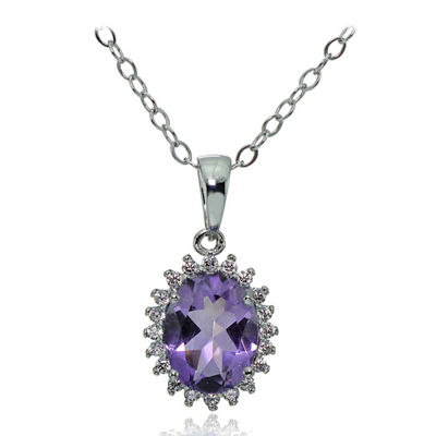 Womens Genuine Purple Amethyst Pendant Necklace