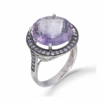 Womens Genuine Purple Amethyst Sterling Silver Halo Ring