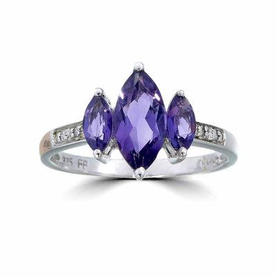 Womens Diamond Accent Genuine Purple Amethyst Sterling Silver 3-Stone Ring
