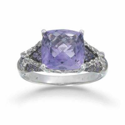 Womens Genuine Purple Amethyst Sterling Silver Halo Ring
