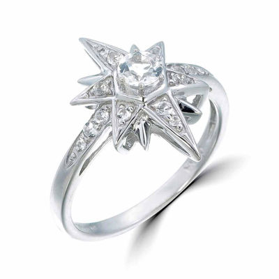 Womens White Topaz Sterling Silver Cocktail Ring