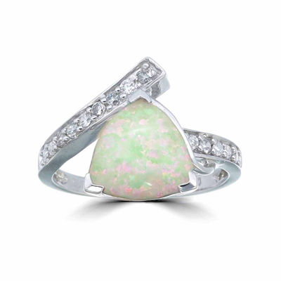 Womens Simulated White Opal Sterling Silver Bypass Ring