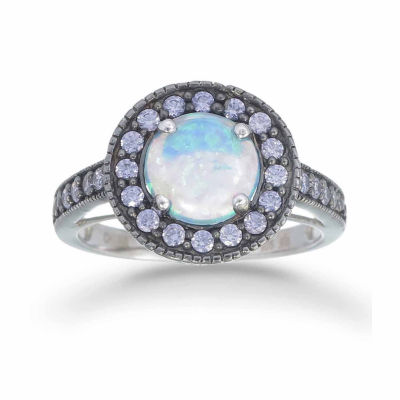 Womens Simulated Blue Opal Sterling Silver Halo Ring