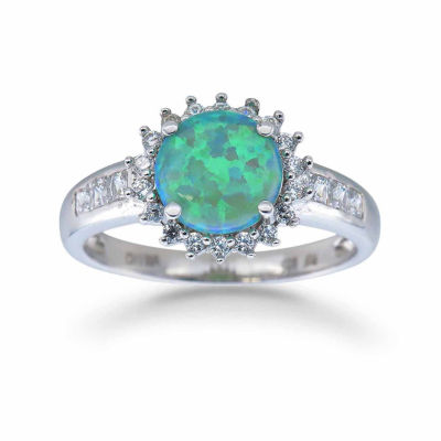 Womens Simulated Green Opal Sterling Silver Halo Ring