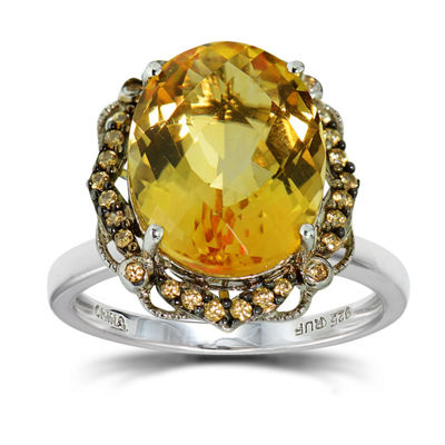 Womens Orange Citrine Sterling Silver Halo Ring