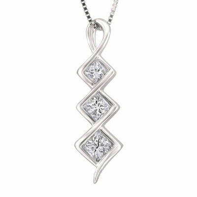 Womens 5/8 CT. T.W. White Diamond 14K Gold Pendant Necklace