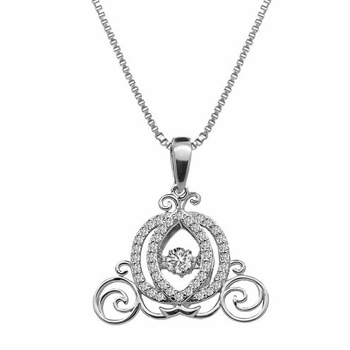 """Enchanted by Disney 3/8 C.T. T.W. 10K White Gold """"Cinderella"""" Carriage Necklace"""