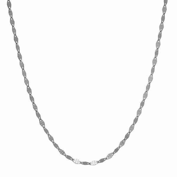 LIMITED QUANTITIES! 14K White Gold Polished Station 1.8mm Link Chain Necklace