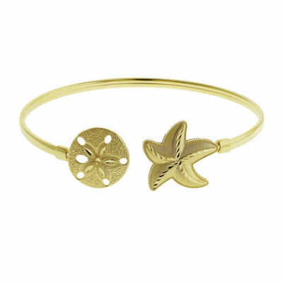 10K Yellow Gold Star Fish & Sand Dollar Bangle Bracelet