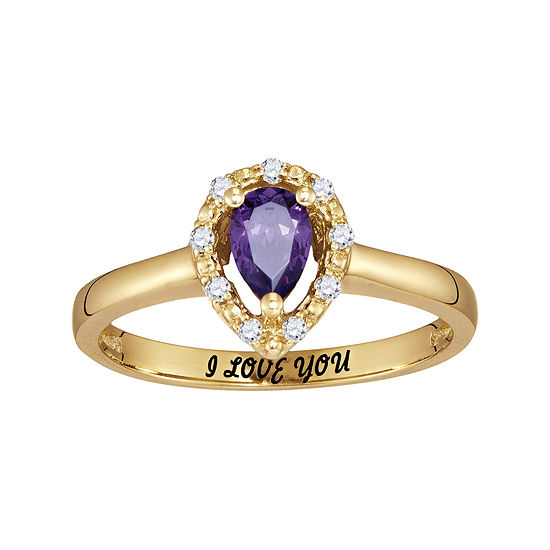 Personalized Simulated Birthstone & Cubic Zirconia Halo Ring
