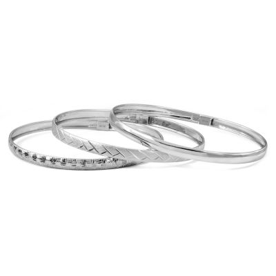 Sterling Silver Triple Bangle Bracelet Set