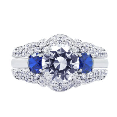 Diamonart Womens Cubic Zirconia & Simulated Blue Sapphire Sterling Silver Bridal Set