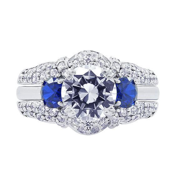 Diamonart Womens Cubic Zirconia & Simulated Blue Sapphire Sterling Silver Bridal Set