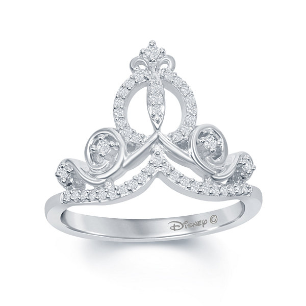 "Enchanted Disney Fine Jewelry 1/6 C.T. T.W. Diamond ""Cinderella"" Ring In Sterling Silver"