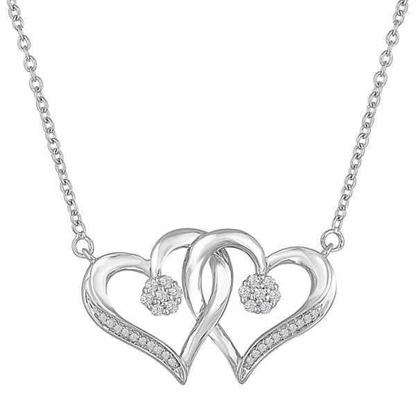 Diamond blossom 110 ct tw sterling silver heart pendant diamond blossom 110 ct tw sterling silver heart pendant necklace mozeypictures Images