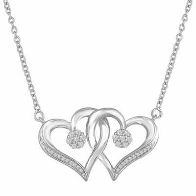 Diamond Blossom 1/10 CT. T.W. Sterling Silver Heart Pendant Necklace