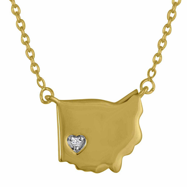 Diamond Accent 14K Yellow Gold over Silver Ohio Pendant Necklace