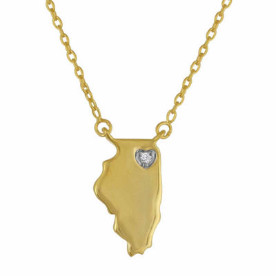 Diamond Accent 14K Yellow Gold over Silver Illinois Pendant Necklace