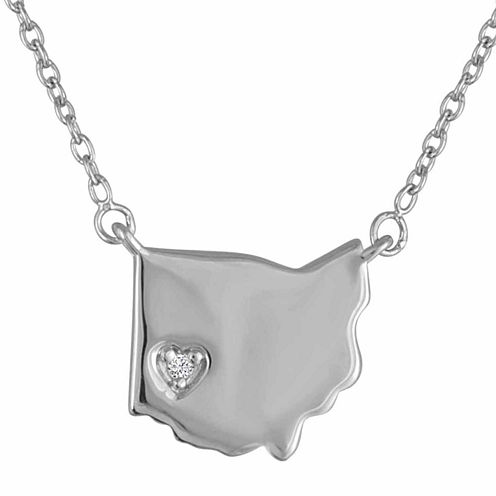 Diamond Accent Sterling Silver Ohio Pendant Necklace
