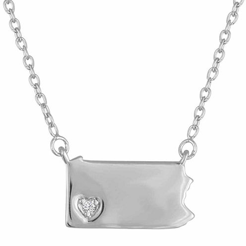 Diamond Accent Sterling Silver Pennsylvania Pendant Necklace