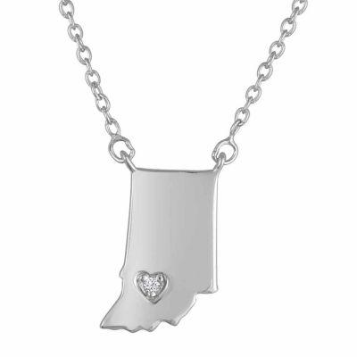 """Home"" Womens Diamond Accent Genuine White Diamond Sterling Silver Pendant Necklace"