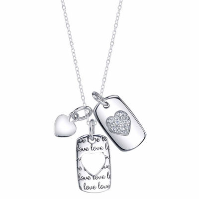 Inspired Moments Womens Lab Created White Cubic Zirconia Sterling Silver Heart Pendant Necklace