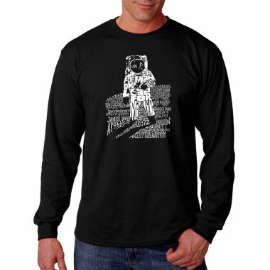 Los Angeles Pop Art Long Sleeve Astronaut Word ArtT-Shirt