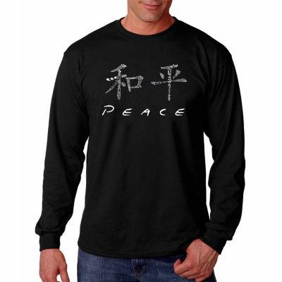 Los Angeles Pop Art Long Sleeve Chinese Peace Symbol Word Art T-Shirt