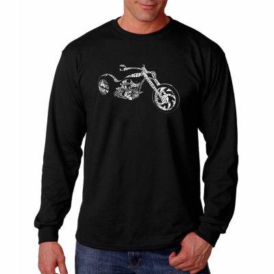 Los Angeles Pop Art Long Sleeve Motorcycle Word Art T-Shirt