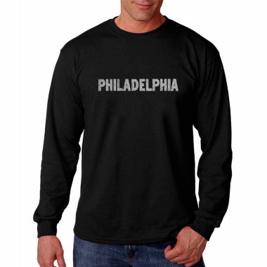 Los Angeles Pop Art Long Sleeve Philadelphia Neighborhoods Word Art T-Shirt